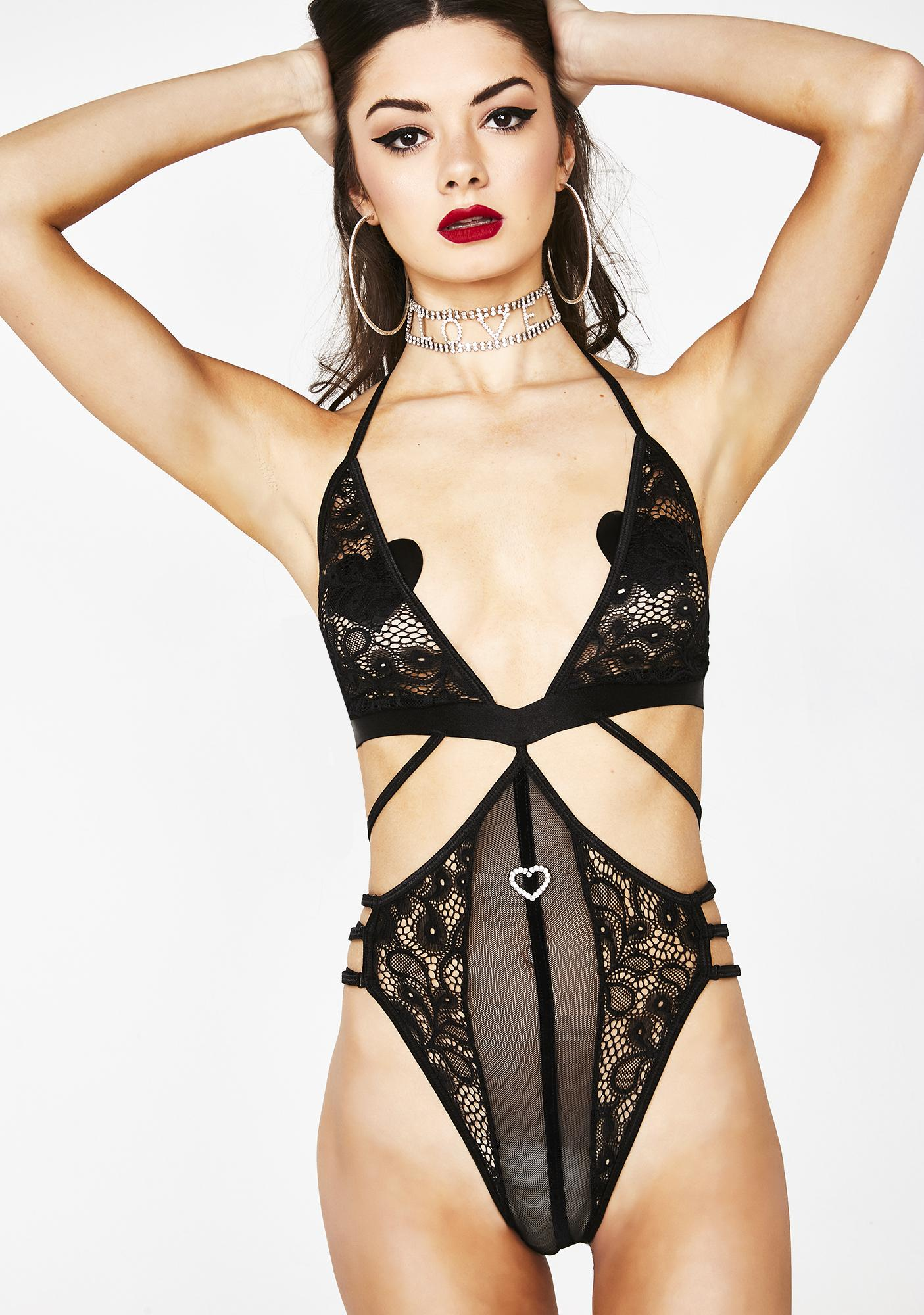 f94549b75014 Black Sheer Lace Strappy Teddy Bodysuit | Dolls Kill
