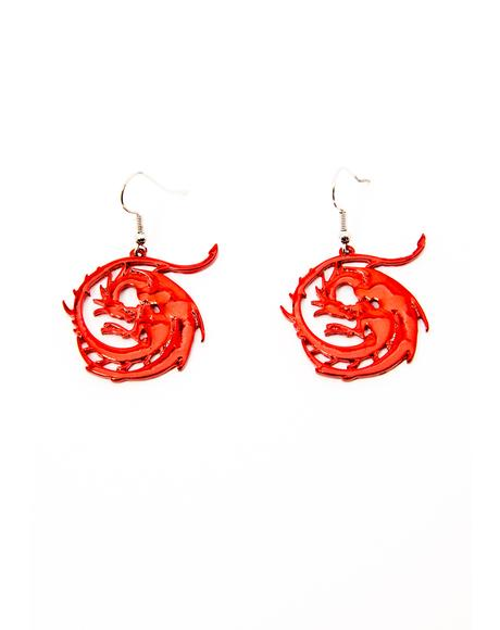 Fire Inside Dragon Earrings