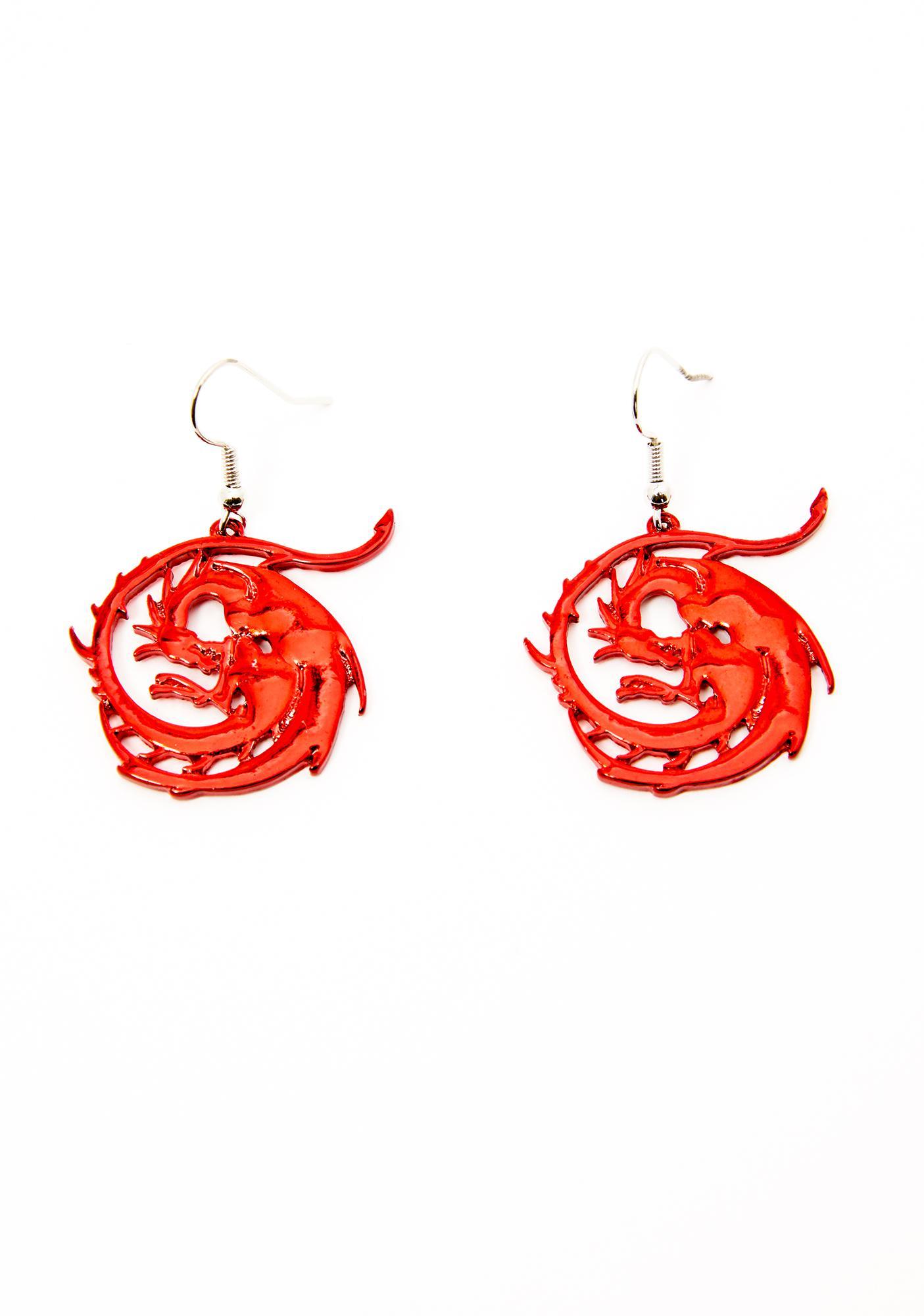 Fire Inside Dragon Earrings