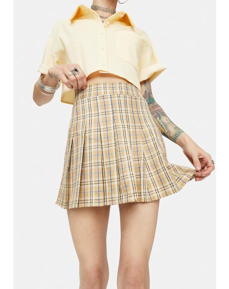 Tan Girl Get Gone Plaid Mini Skirt