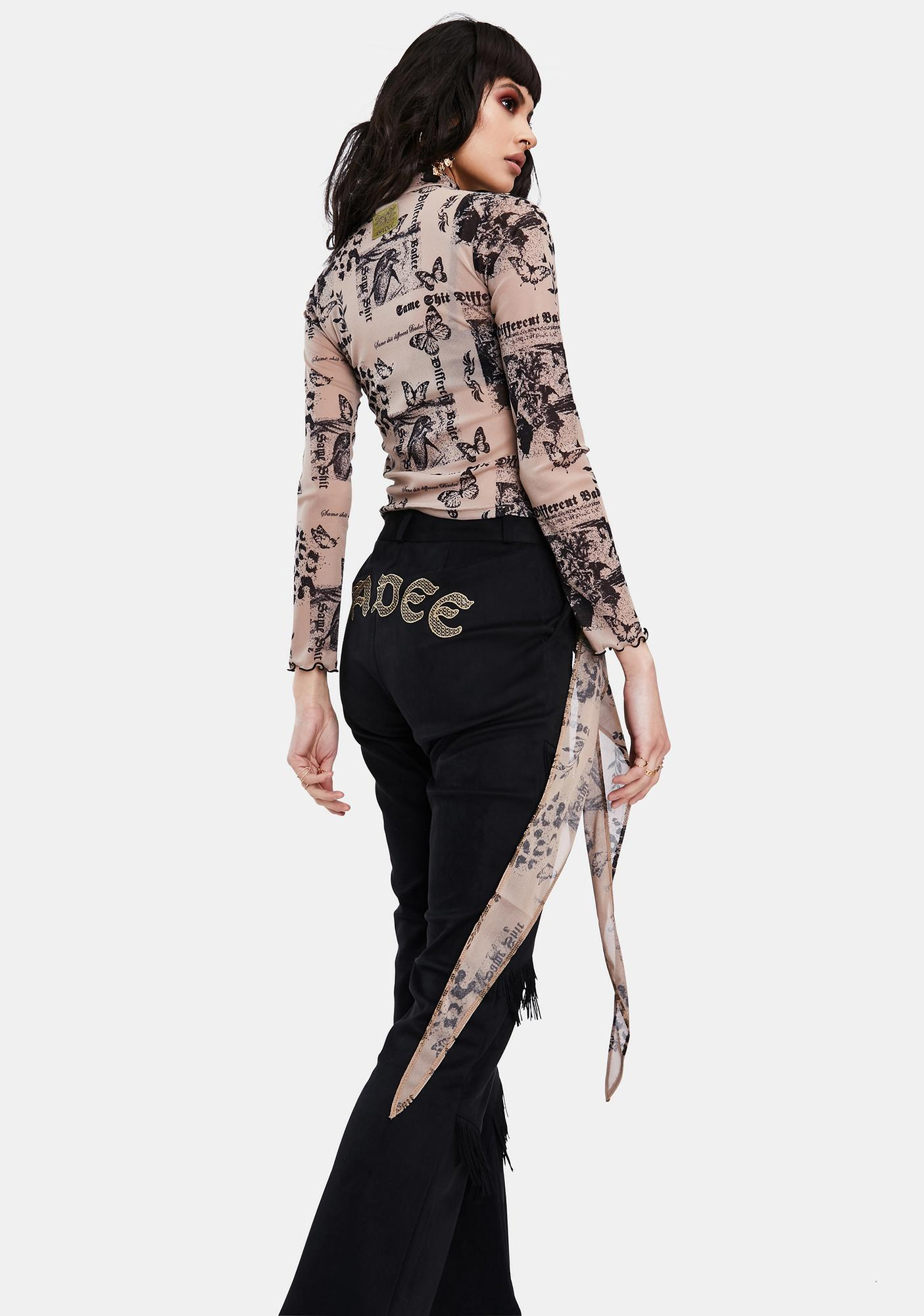 BADEE Beige Butterfly Scarf Layered Mesh Top
