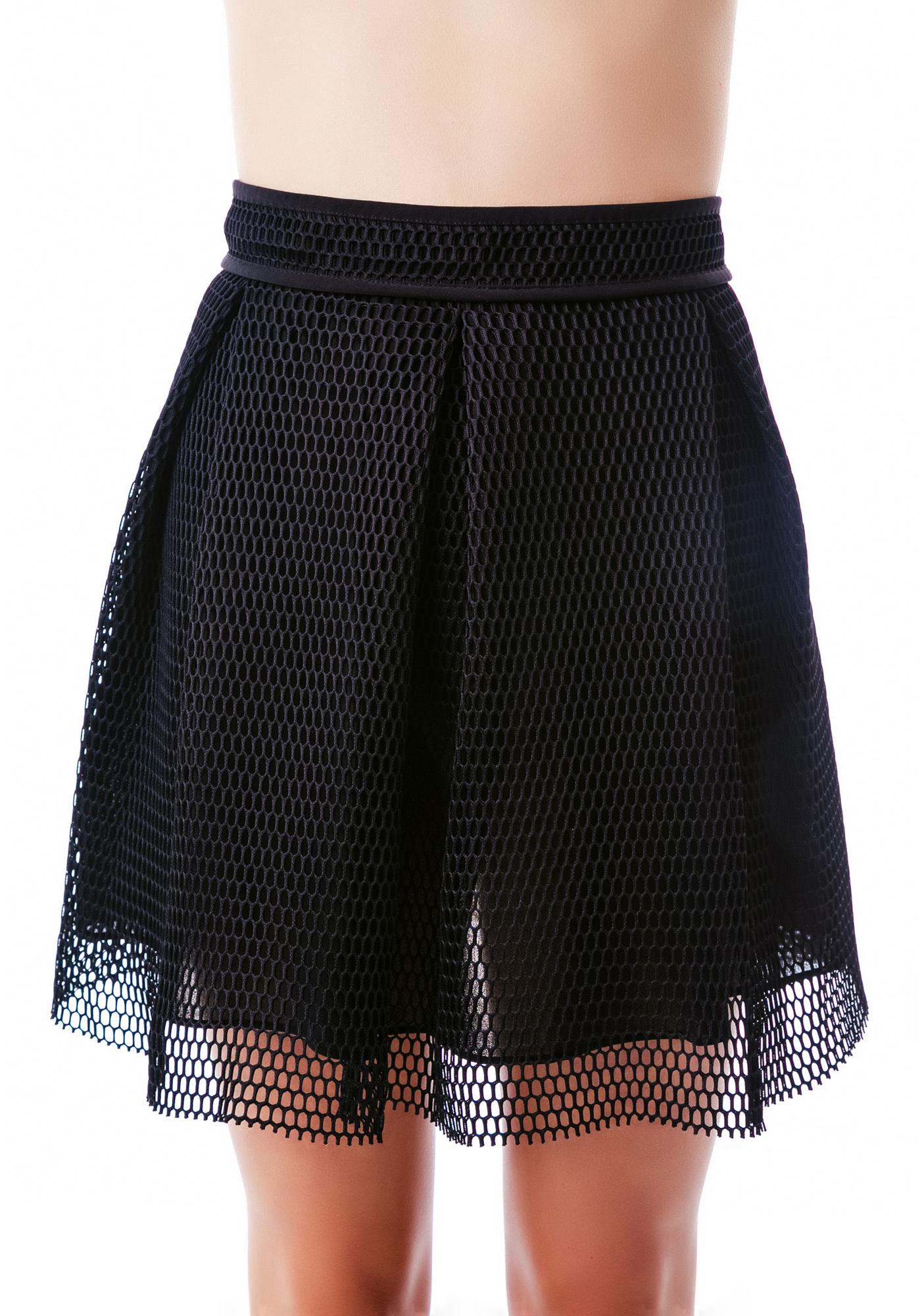Hole New View Pleated Net Skirt