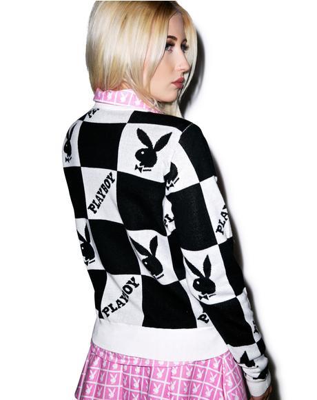 X Playboy Checkered Knit Crew