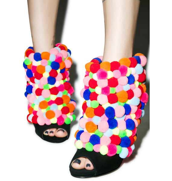 Privileged Rainbow Pom-Pom Ankle Booties