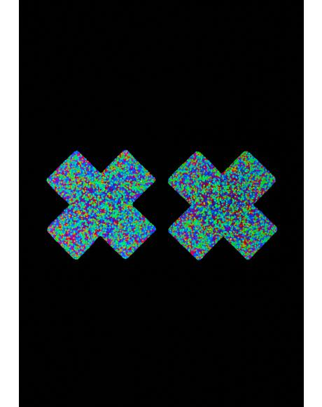Blacklight Glitter Cross Pasties