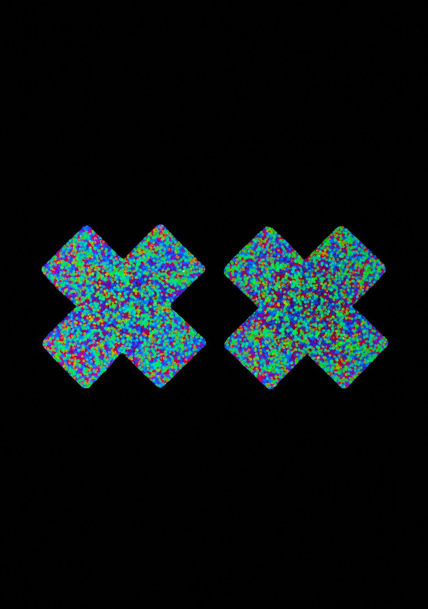 Neva Nude Blacklight Glitter Cross Pasties