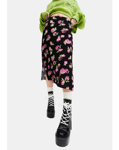Lost In Yesterday Floral Midi Skirt
