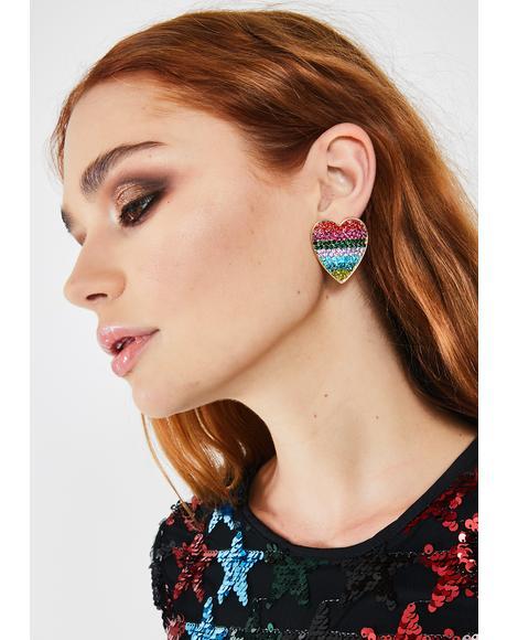 Technicolor Love Rhinestone Earrings