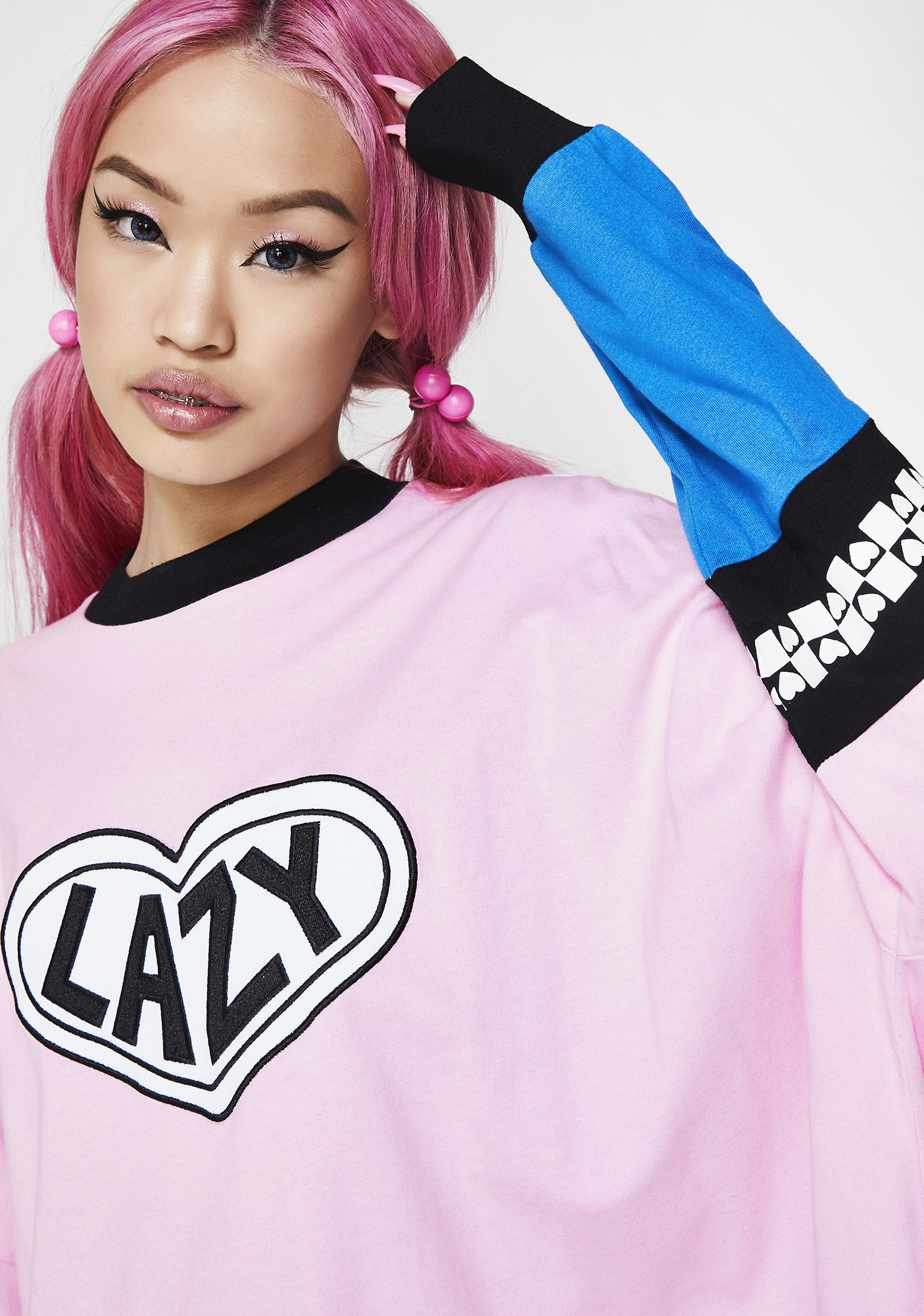 Lazy Oaf Pink Panel Long Sleeve Tee