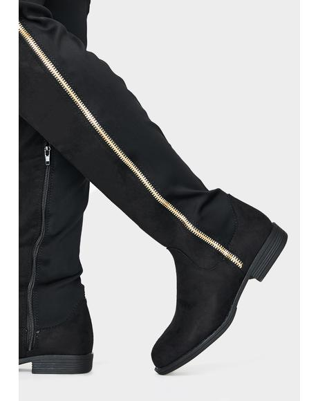 Ink Gone Undercover Knee High Boots