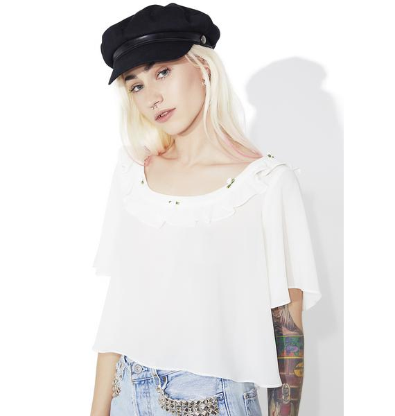 For Love & Lemons Ivory Little Rosette Sleep Shirt