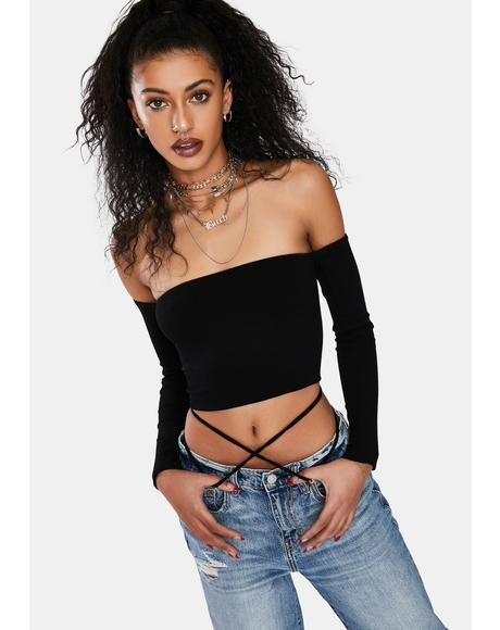 Night Something Sudden Off Shoulder Crop Top