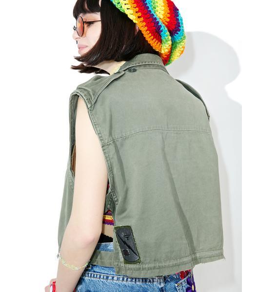Vintage Deconstructed Army Vest