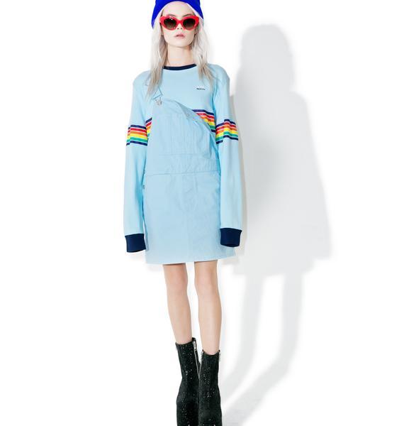 MadeMe x X-Girl Blue Multistripe Longsleeve Tee
