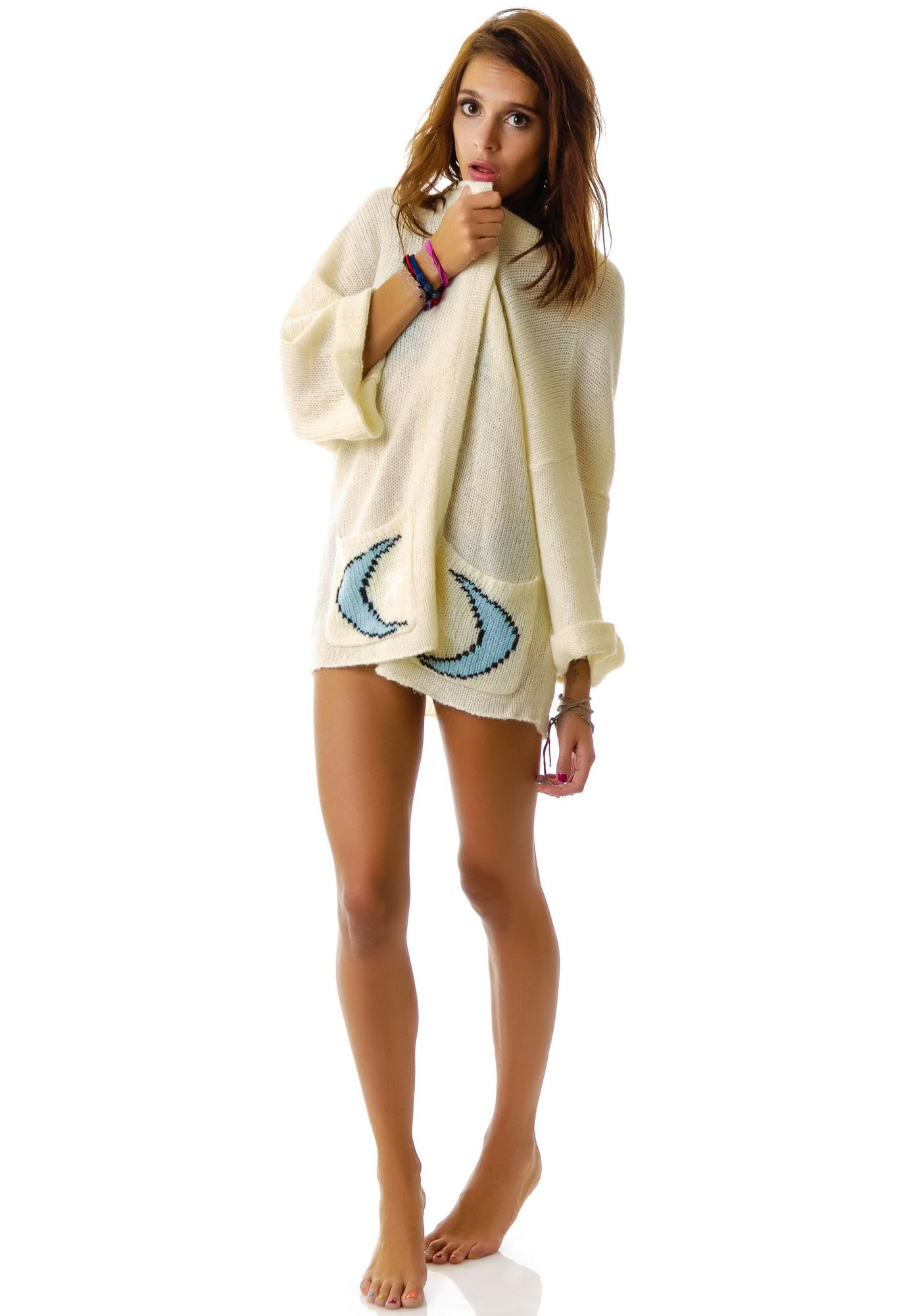 Wildfox Couture Moon and Star Slouch Cardigan