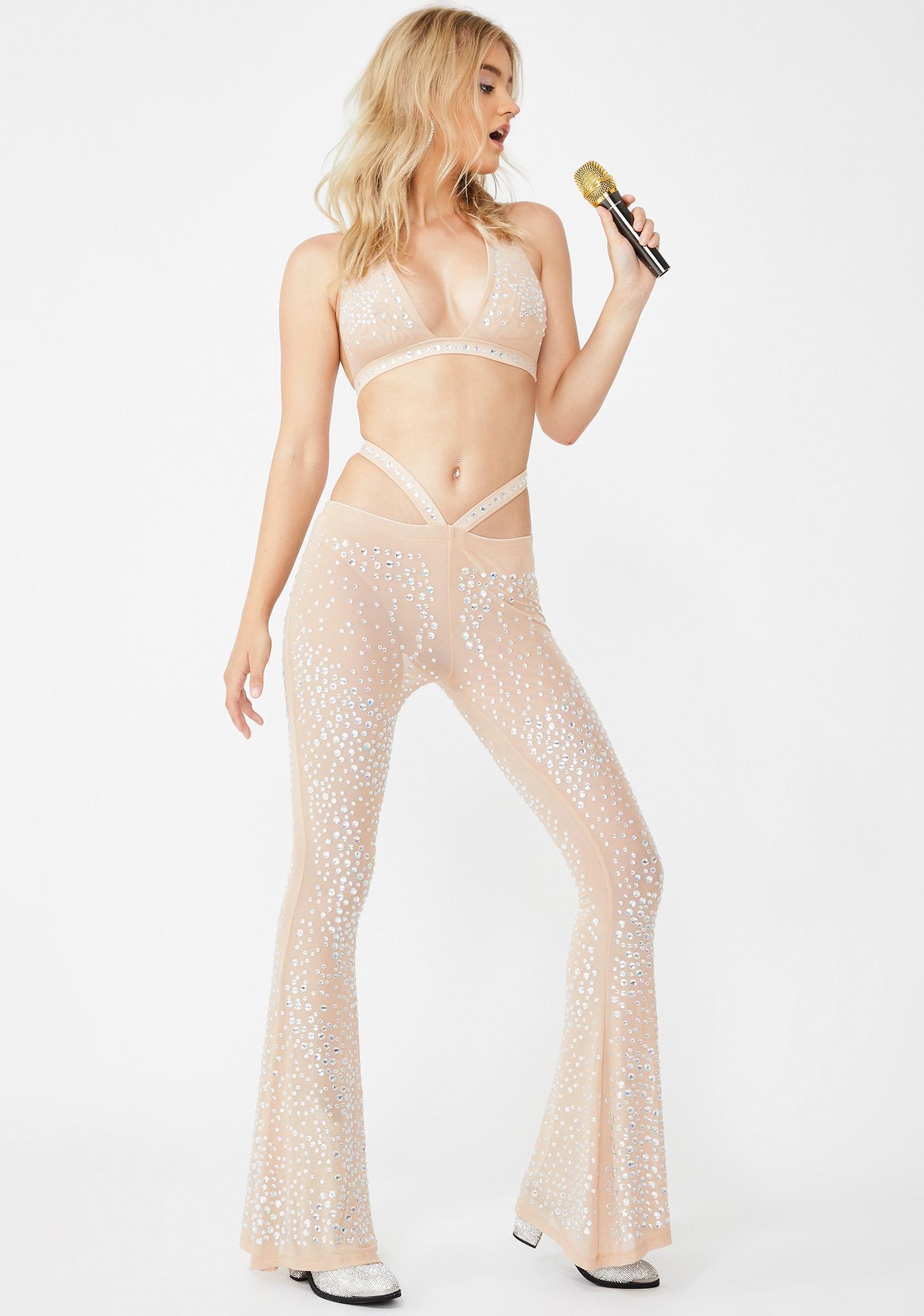 Club Exx Nude Stardust Showdown Strappy Flares