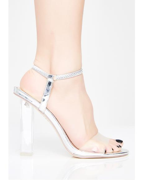 Platinum Lady Mystery Clear Heels