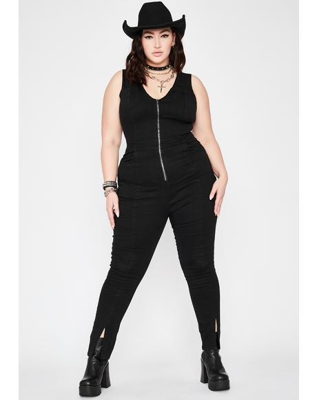 She's Gunning For Glory Denim Jumpsuit