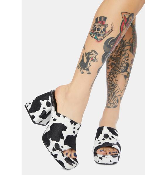 Public Desire Oreo Cowhide Chunky Heel Mules