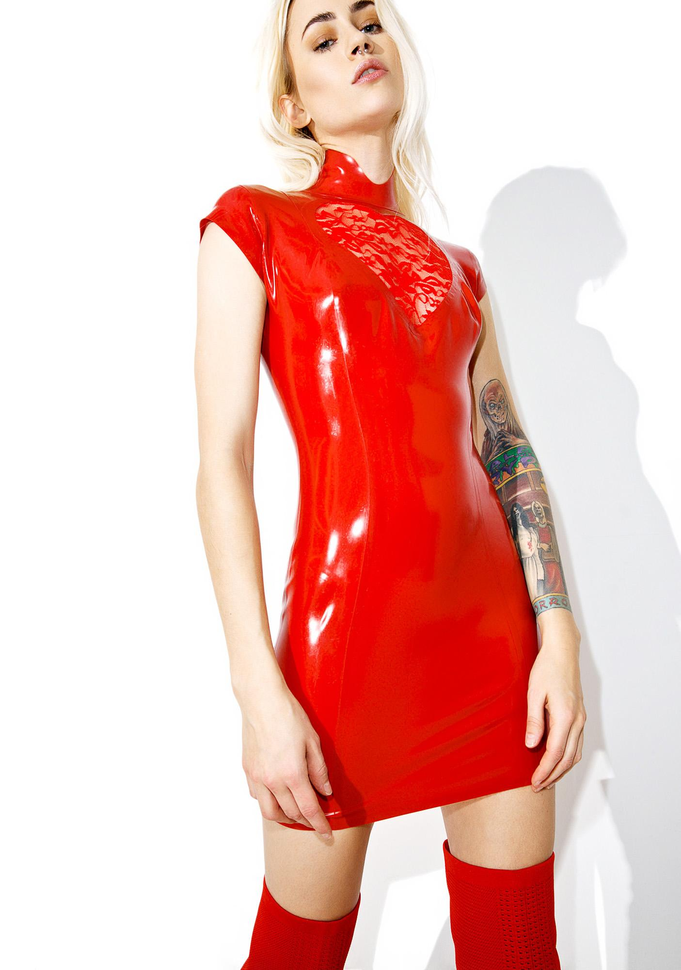 Jane Doe Latex Lace Heart Mini Dress