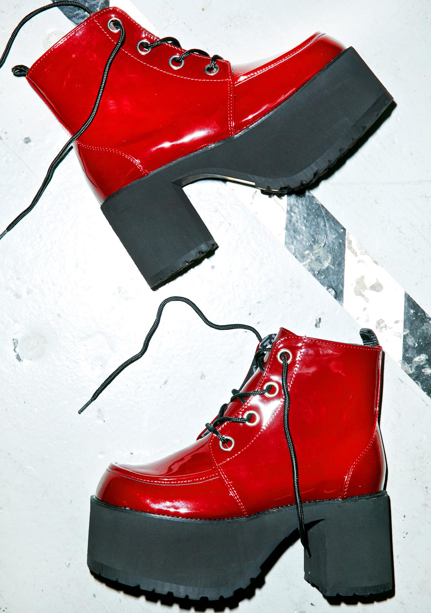 T.U.K. Patent Lace-Up Nosebleed Boots