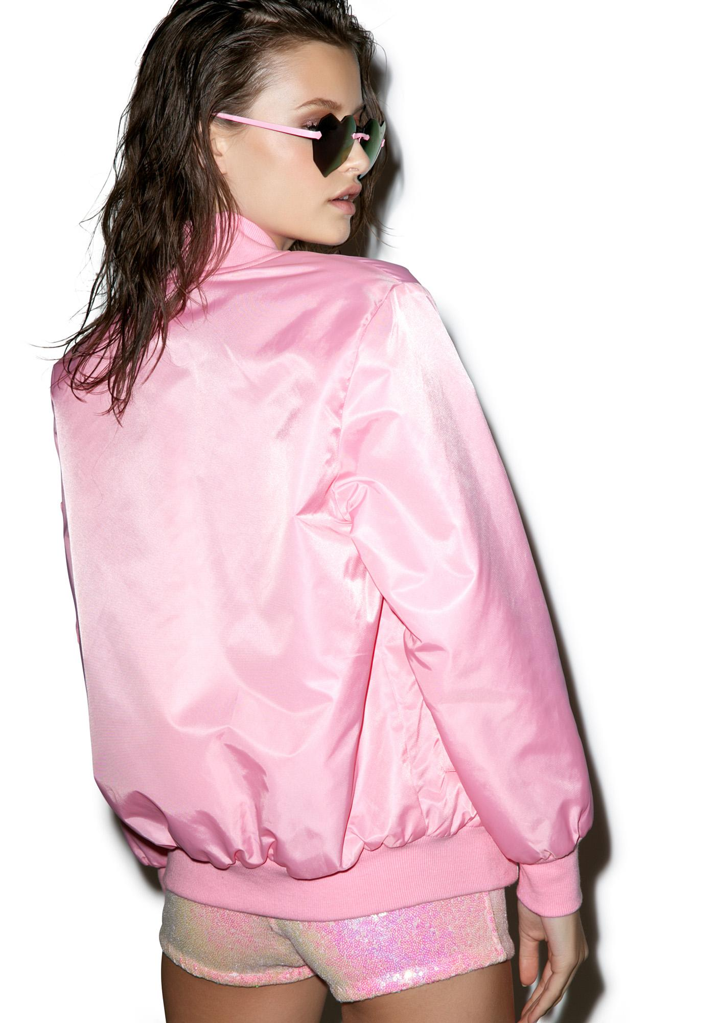 Petals and Peacocks Baby Pink MA-1 Bomber Jacket
