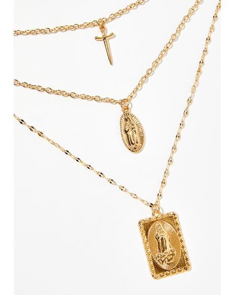 Say Your Prayerz Layered Necklace