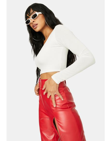 Icy Command Attention Square Neck Crop Top