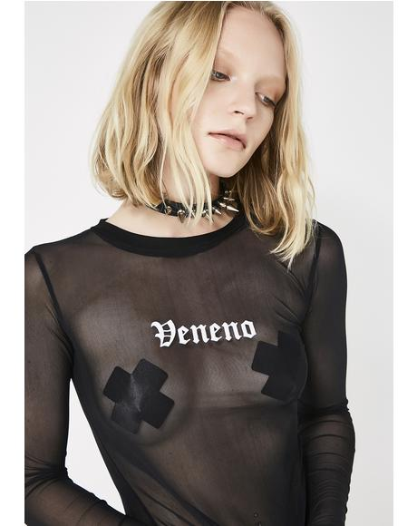 Veneno Long Sleeve Mesh Top