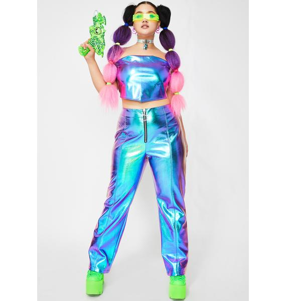 Club Exx Atomic Icy Invaders Metallic Top
