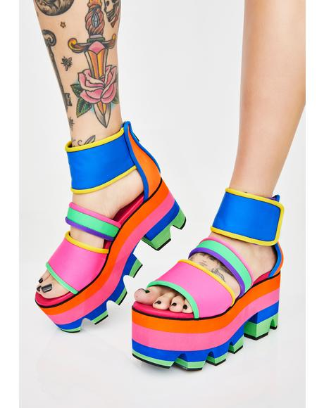 Cosmic Candy Neon Platform Sandals