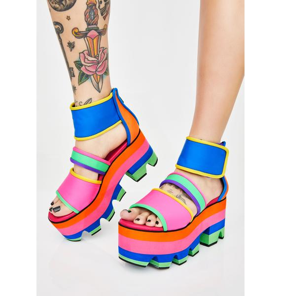 Current Mood Cosmic Candy Neon Platform Sandals