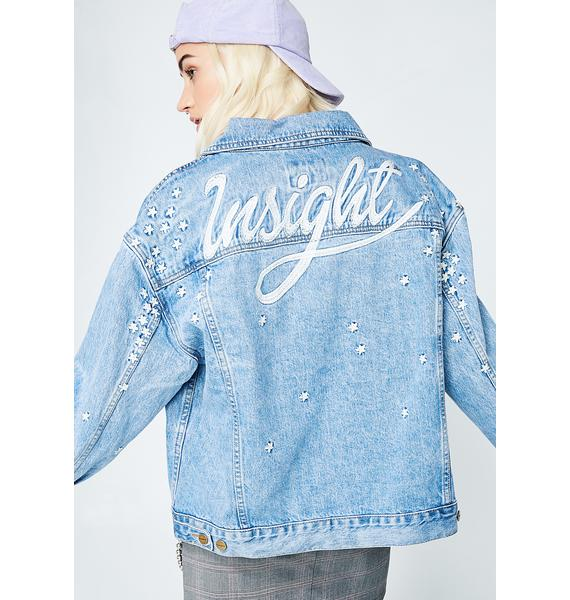 Insight Oversized Bf Jacket 90s Blue Daisy Meadow