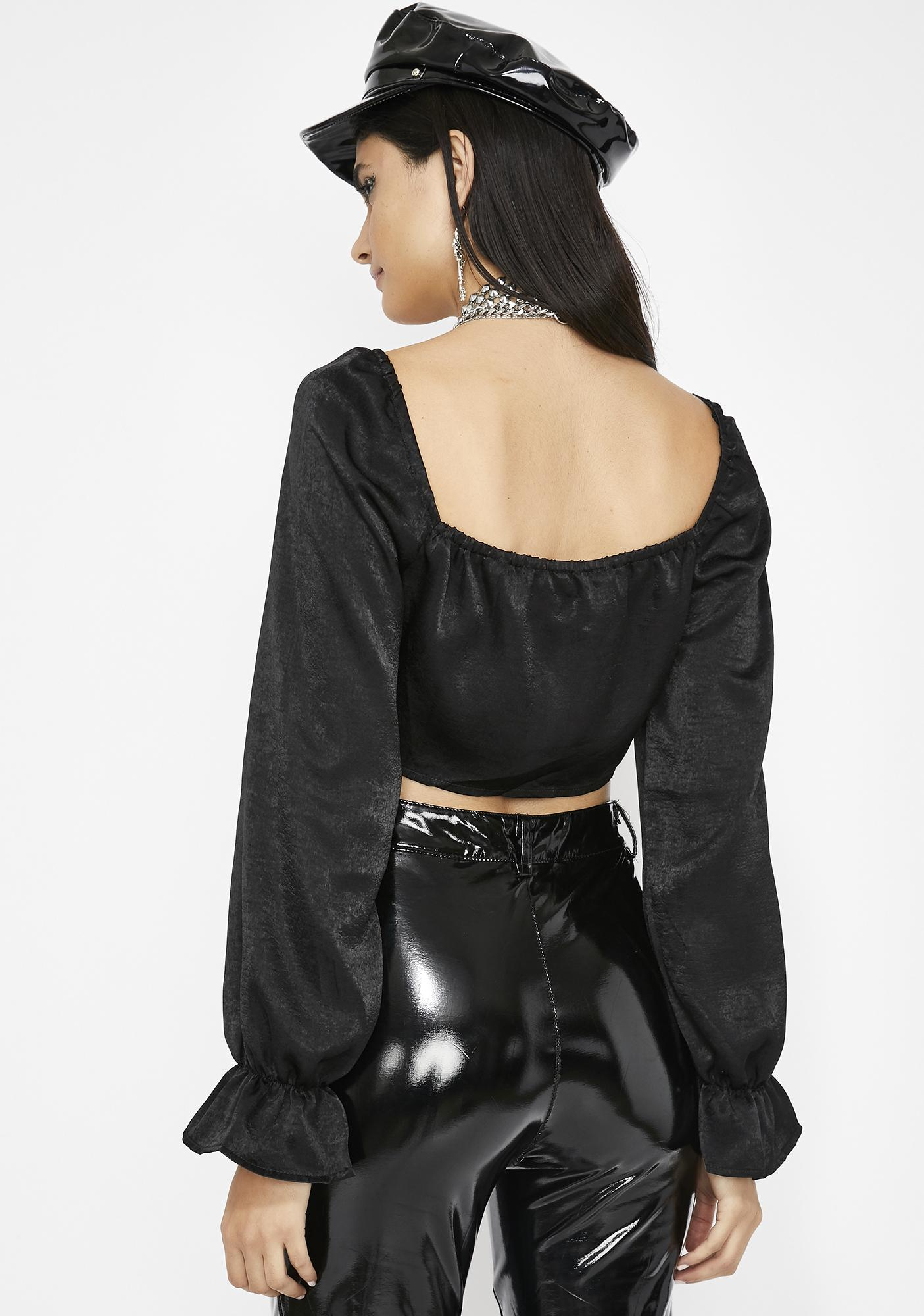 Back To Black Satin Top