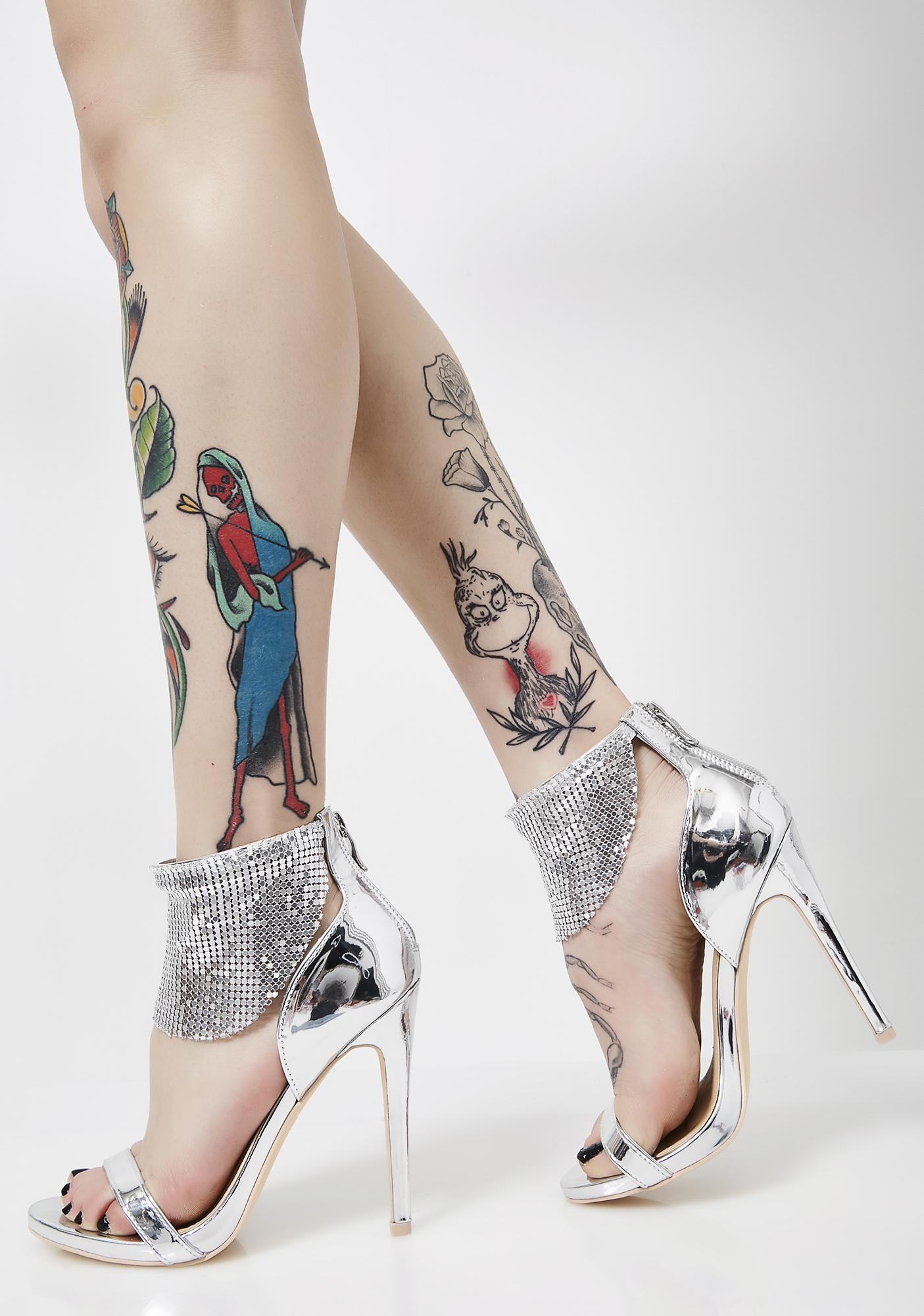 Electro Disco Dimepiece Metallic Heels