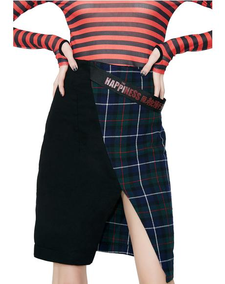 Denim Tartan Split Skirt