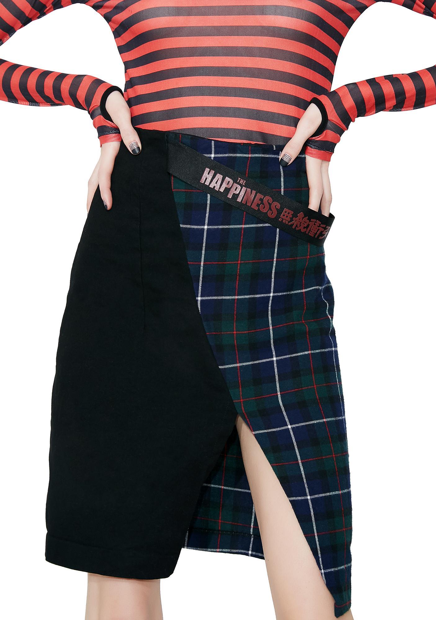 Happiness Denim Tartan Split Skirt