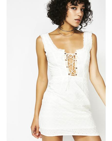 Charlotte Eyelet Lace-Up Mini Dress