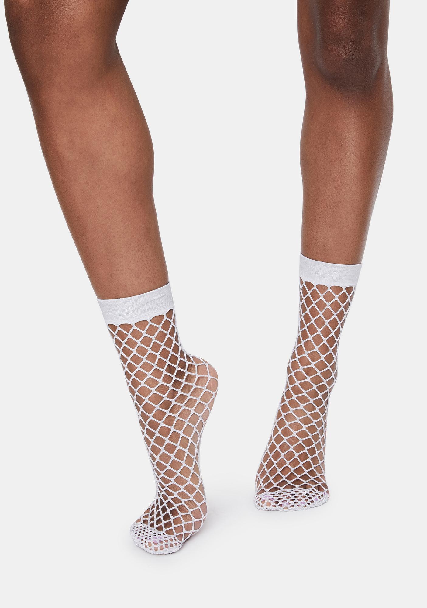 MeMoi White All Net Glitter Anklet Socks