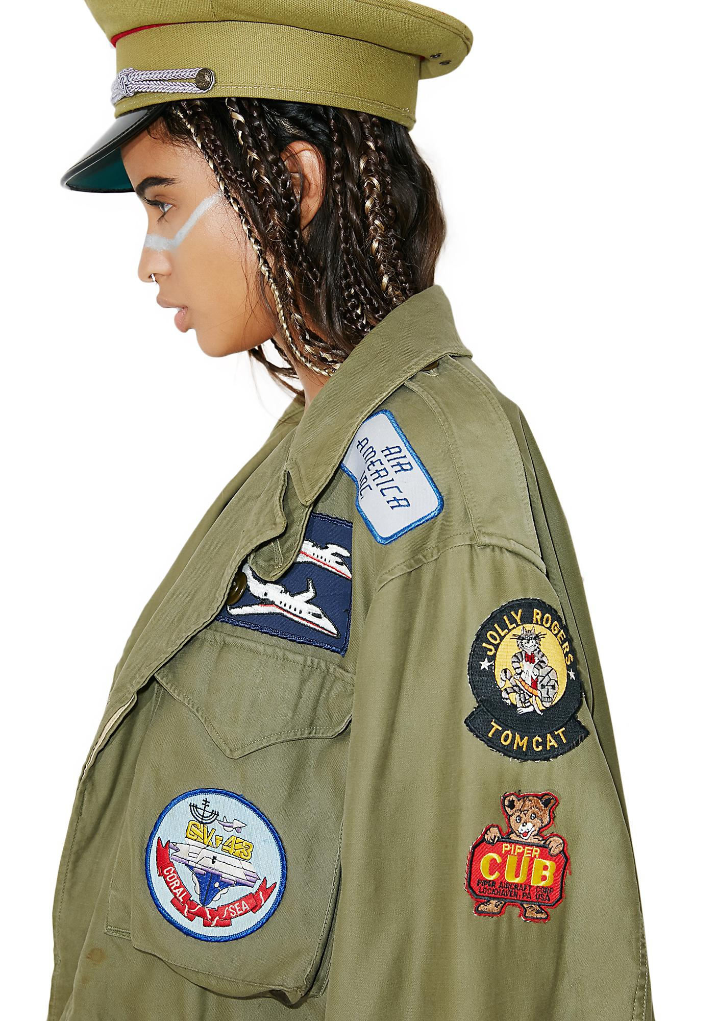 Vintage Patched Military Jacket
