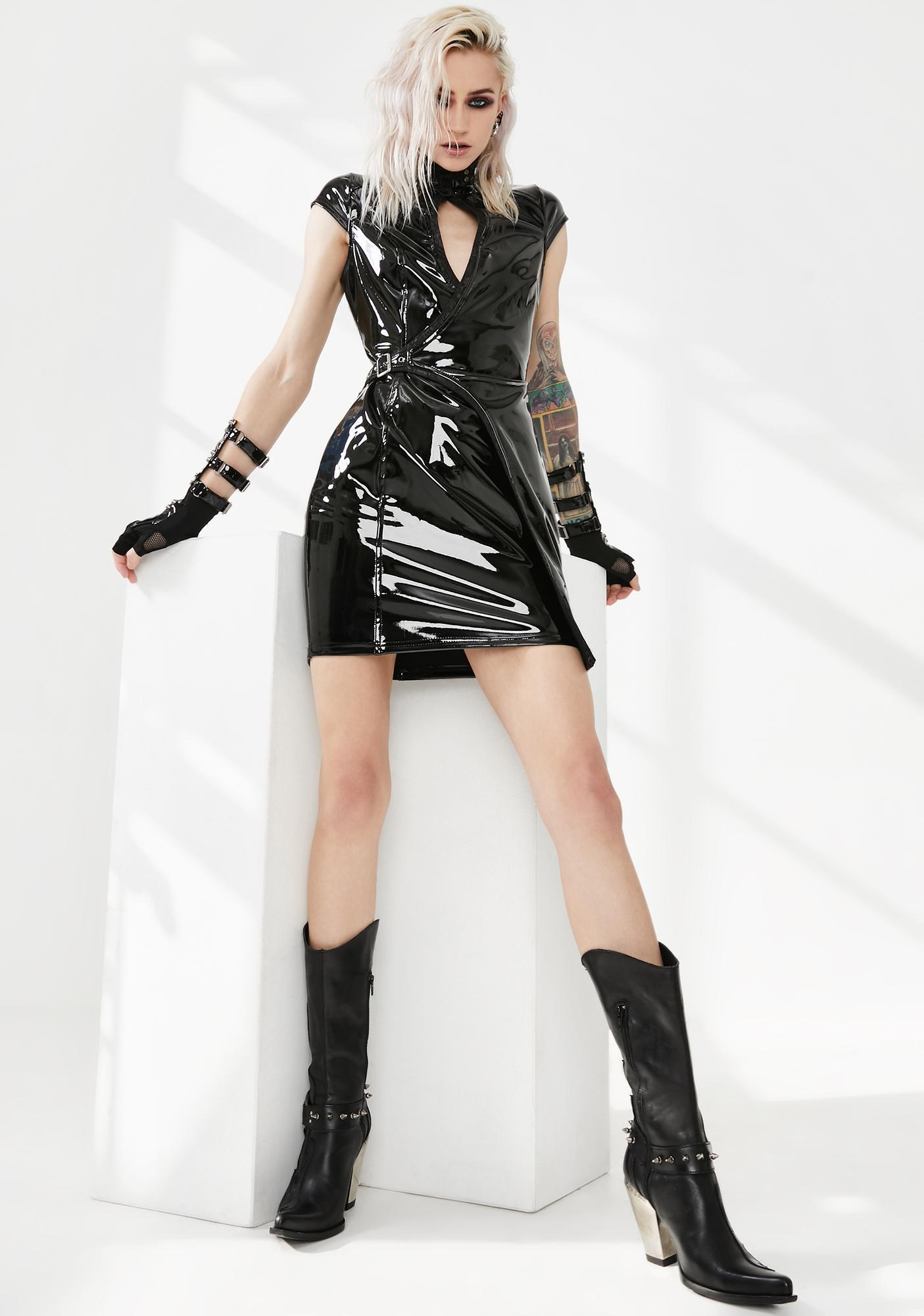 Punk Rave Sci Fi Punk Patent Vinyl Dress