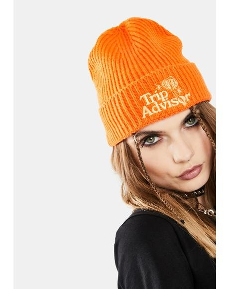 Orange Trip Advisor Beanie