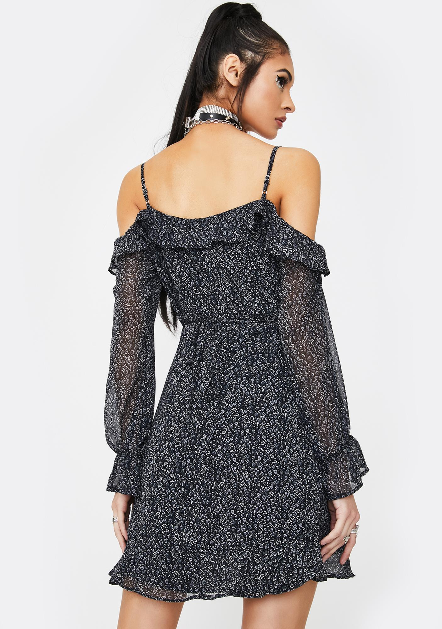 Honey Punch Black Ruffle Off The Shoulder Dress