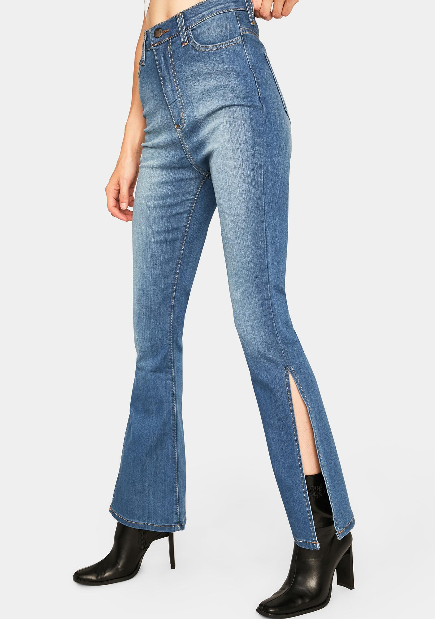 Totally Girl Side Slit Jeans