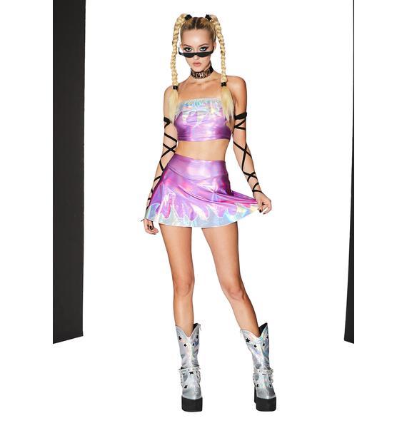 Club Exx Magic Spark Up Holographic Skort
