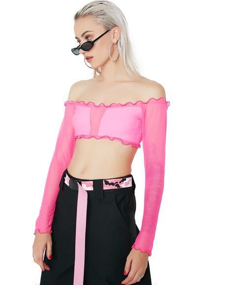 Bardot Mesh Bikini Top