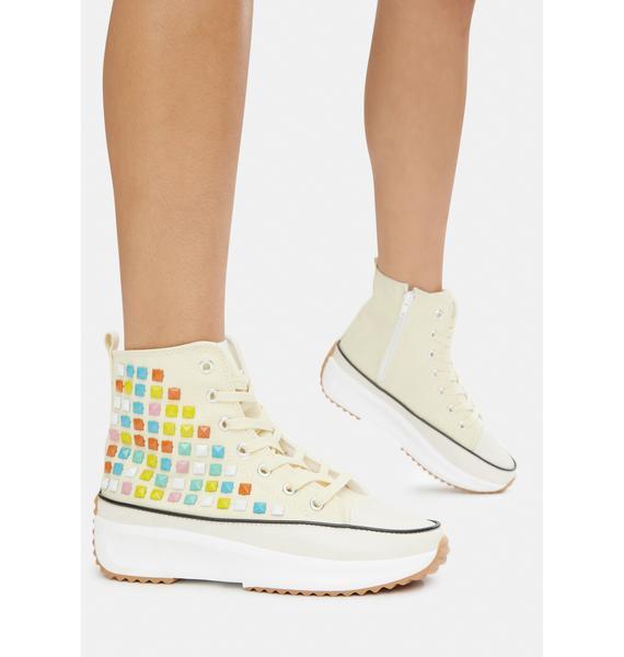 Cream Good Lookin' Studded Hi Top Sneakers