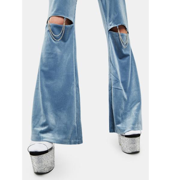 ZEMETA Knee Chain Velvet Flare Pants