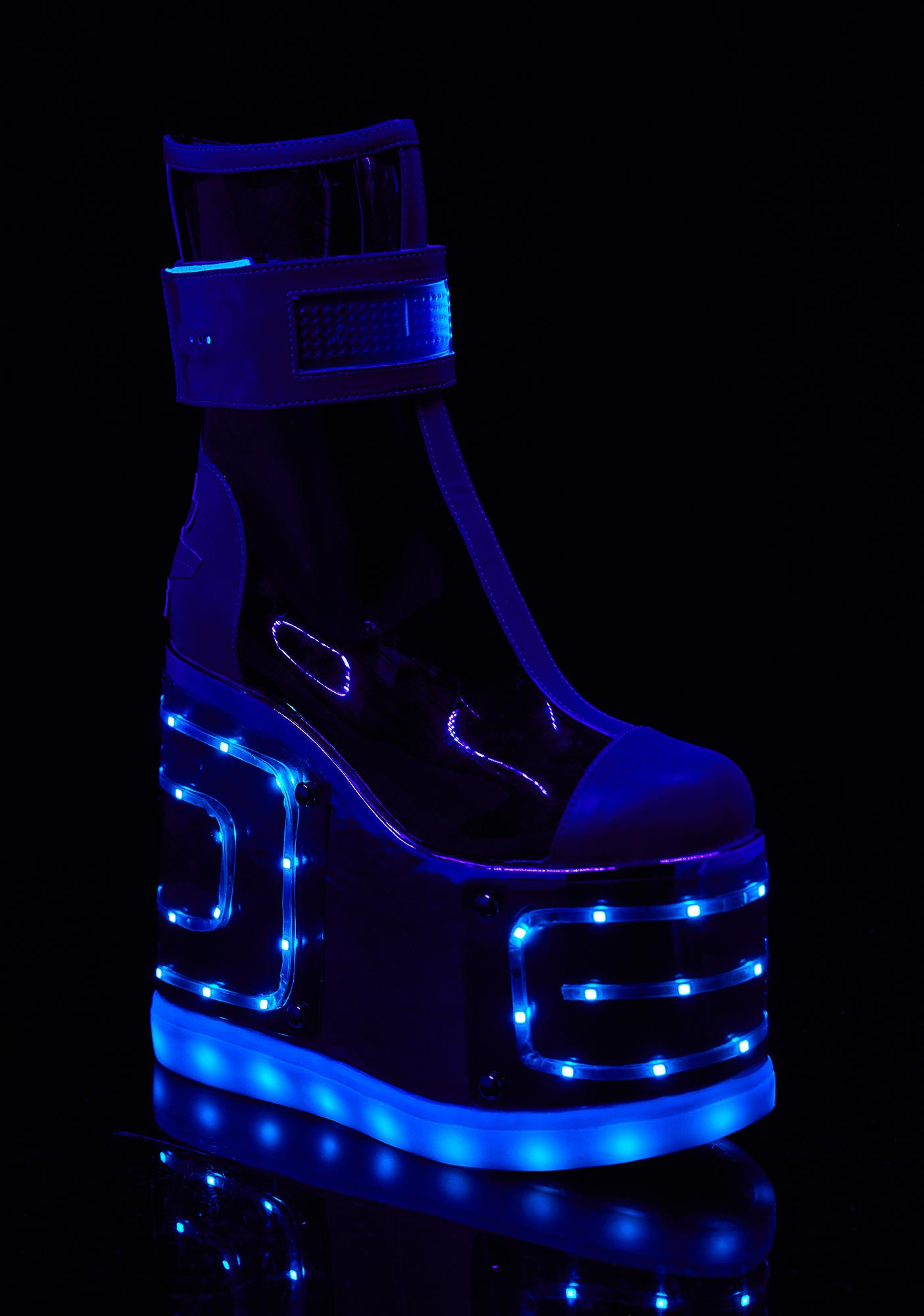 High heel LED shoes that blink to music. YouTube