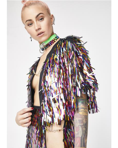 Rainbow Sequin Spike Cape